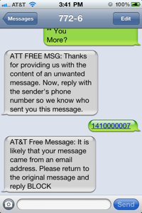Blocking spam sms texts bettnet att spam sms reply ccuart Choice Image