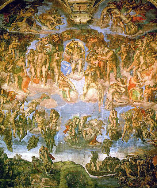 Fresco of the Last Judgment, Sistine Chapel, Michelangelo Buonarroti, [Public domain], via Wikimedia Commons