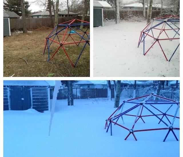 Snow piles up