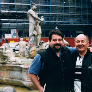 My father and me in Piazza Navona, Rome, in 1999.